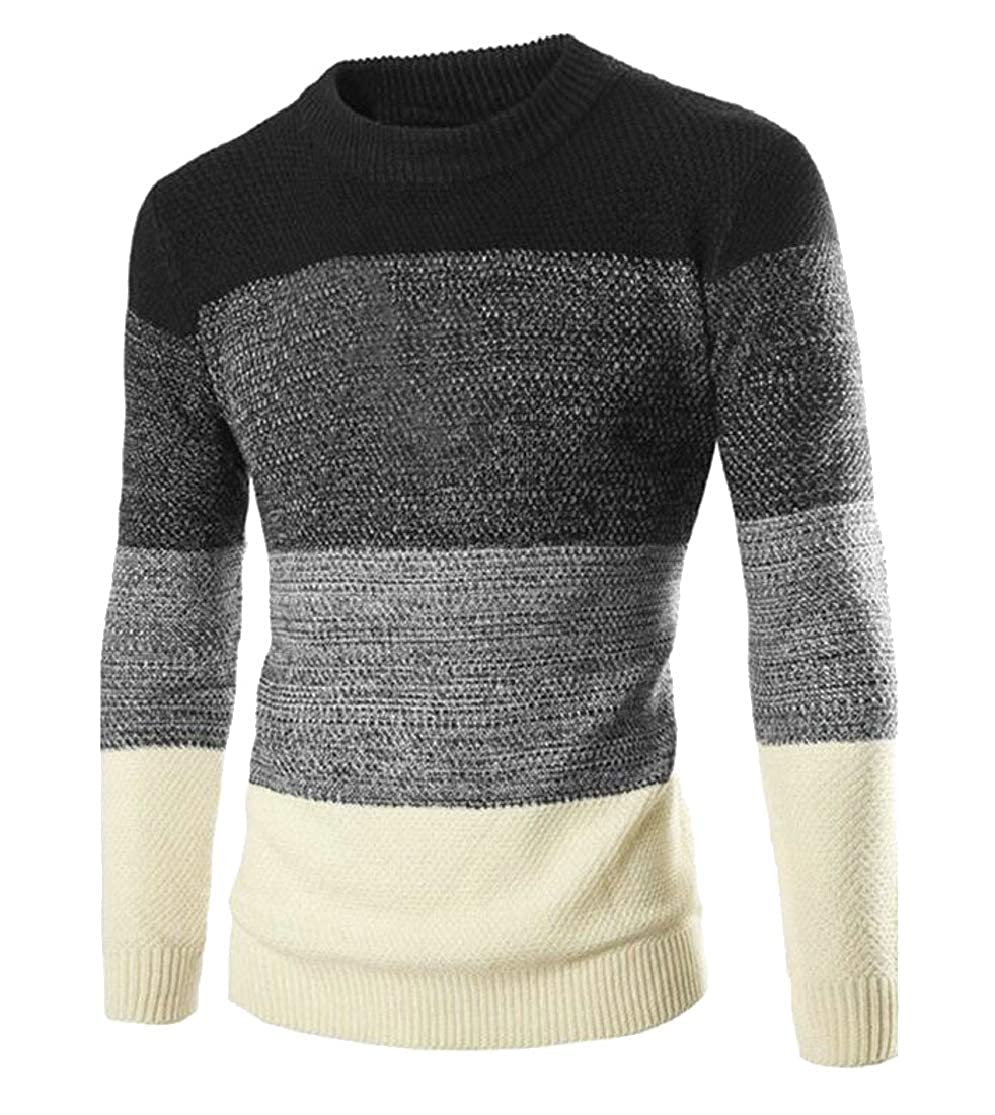 Cromoncent Mens O-Neck Knits England Casual Spell Color Pullover Sweaters