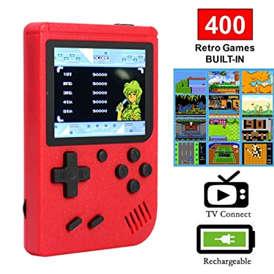 Ruorin 3 inch Handheld Retro FC Game Console 400 Games 8 Bit Game Player (Red): Computers & Accessories