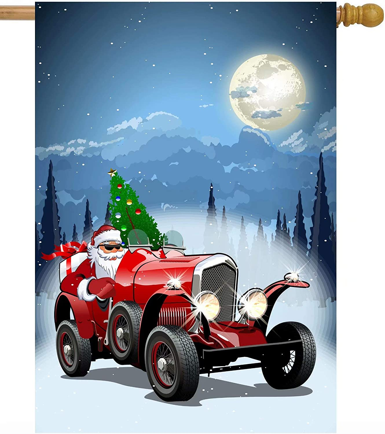 "ShineSnow Christmas Santa Claus Truck Car with Gifts Tree Winter Holiday Night House Flag 28"" x 40"" Double Sided Polyester Welcome Large Yard Garden Flag Banners for Patio Lawn Home Outdoor Decor"
