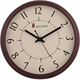 Amazon Brand - Solimo 11-inch Wall Clock (Silent Movement, Brown Frame)