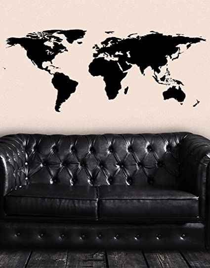 Black world map wall decal sticker stickerbrand home decor vinyl black world map wall decal sticker stickerbrand home decor vinyl wall art 21in x 51in publicscrutiny Images