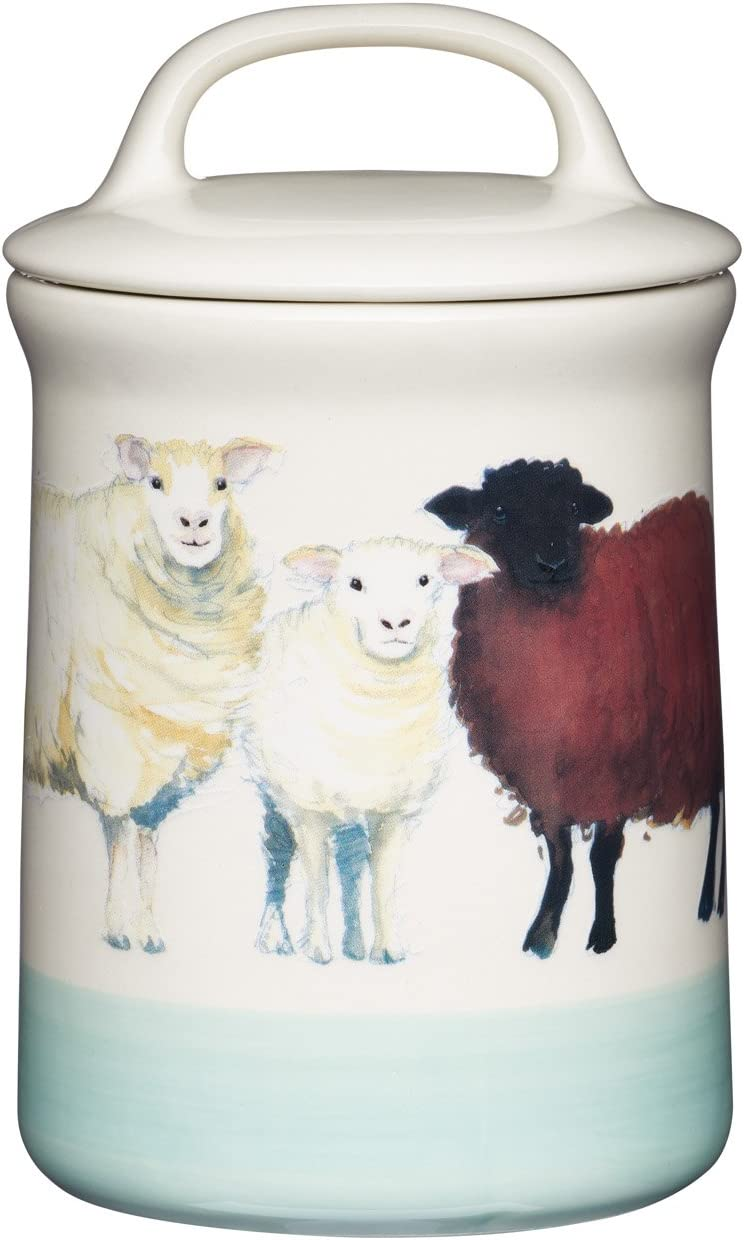 "Kitchen Craft Apple Farm Hand-Finished 'Sally Sheep' Ceramic Airtight Storage Jar, 10.5 x 17.5 cm (4"" x 7"") - Cream/Green, 10.5 x 10.5 x 17.5 cm, Multi-Colour"