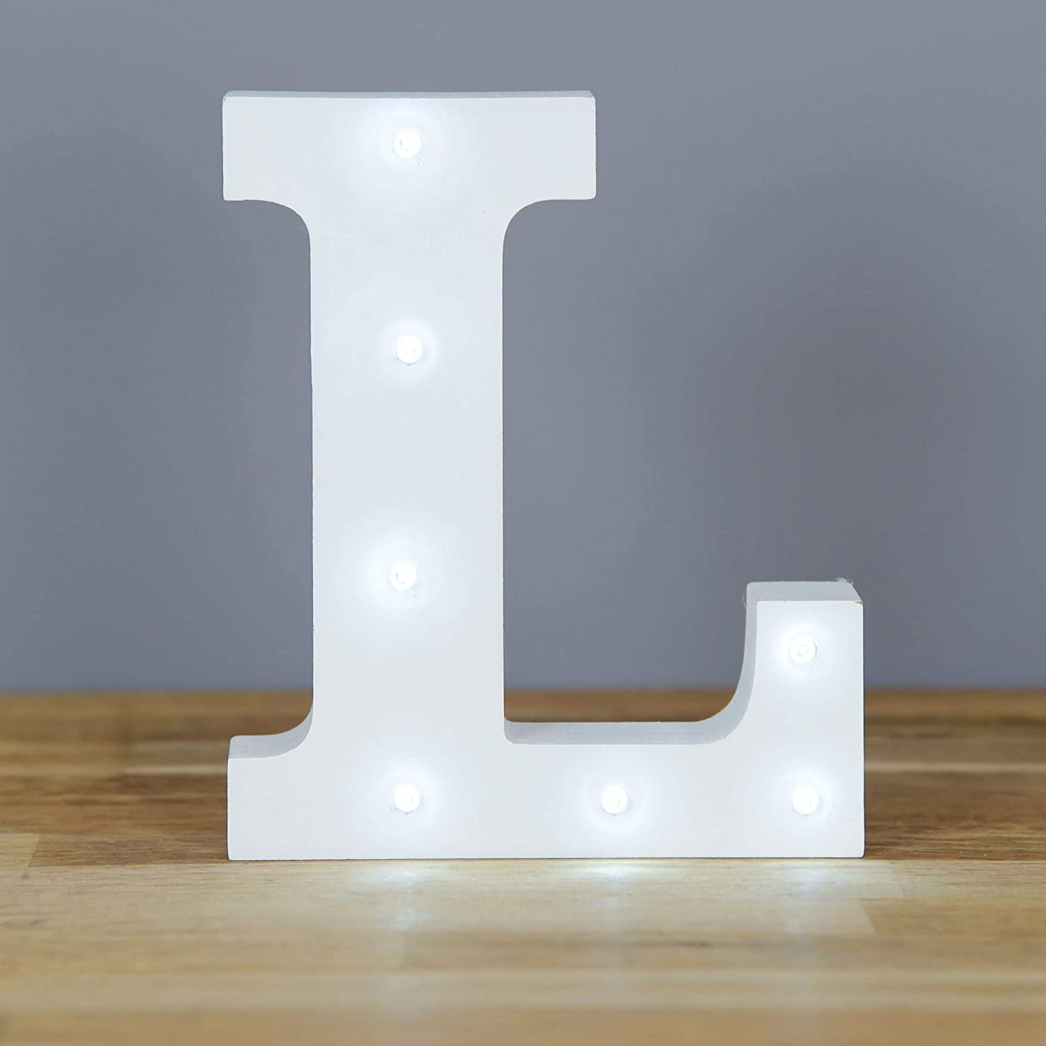 Up in Lights Muestra decorativa de madera blanca de las letras del LED - colgante de pared con pilas - Letra L