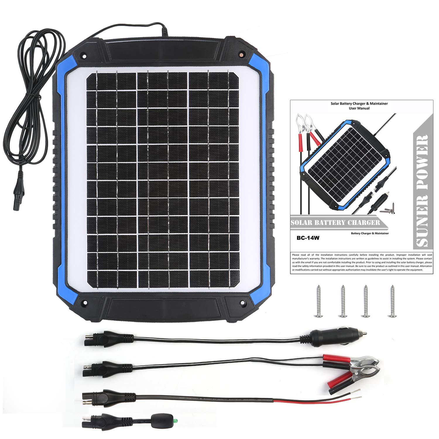 SUNER POWER 12V Solar Car Battery Charger & Maintainer - Portable 14W Solar Panel Trickle Charging Kit for Automotive, Motorcycle, Boat, Marine, RV, Trailer, Powersports, Snowmobile, etc. by SUNER POWER (Image #3)
