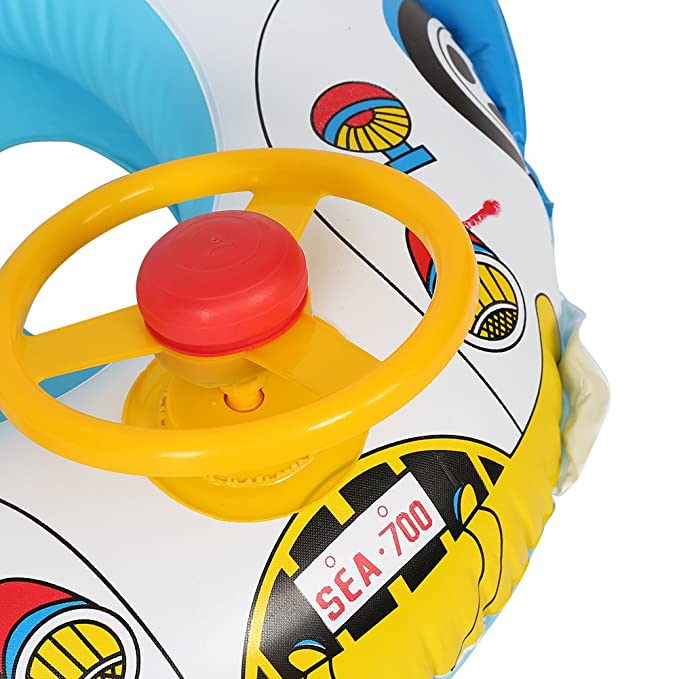 Zerodis Swimming Ring for Kids Car-Shaped Inflatable Ride-ons PVC Pool Float for Kids