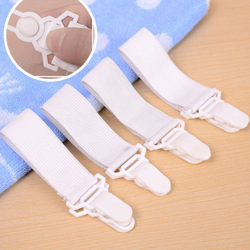 Pevor Adjustable Bed Sheet Fasteners Suspenders, Cover Grippers Holder Clips, White, Set of 4
