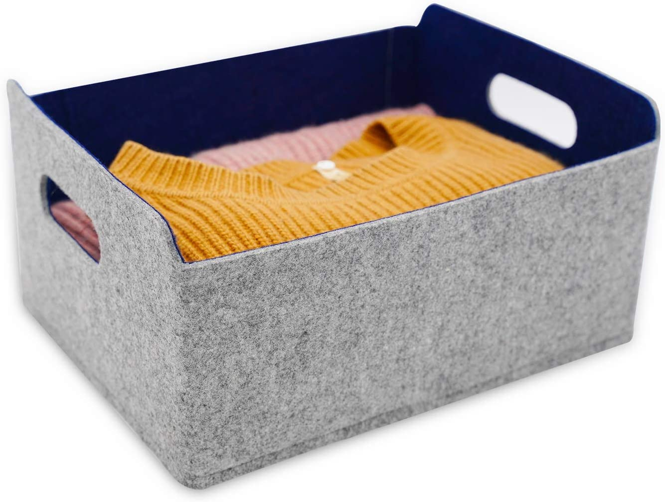 WELAXY storage baskets Felt Foldable Storage Cube bin Shelf Bins Organizer Felt box for for Kids Toys Magazine Books Clothes for Office Bedroom Closet Babies Nursery Laundry organizing (Navy)