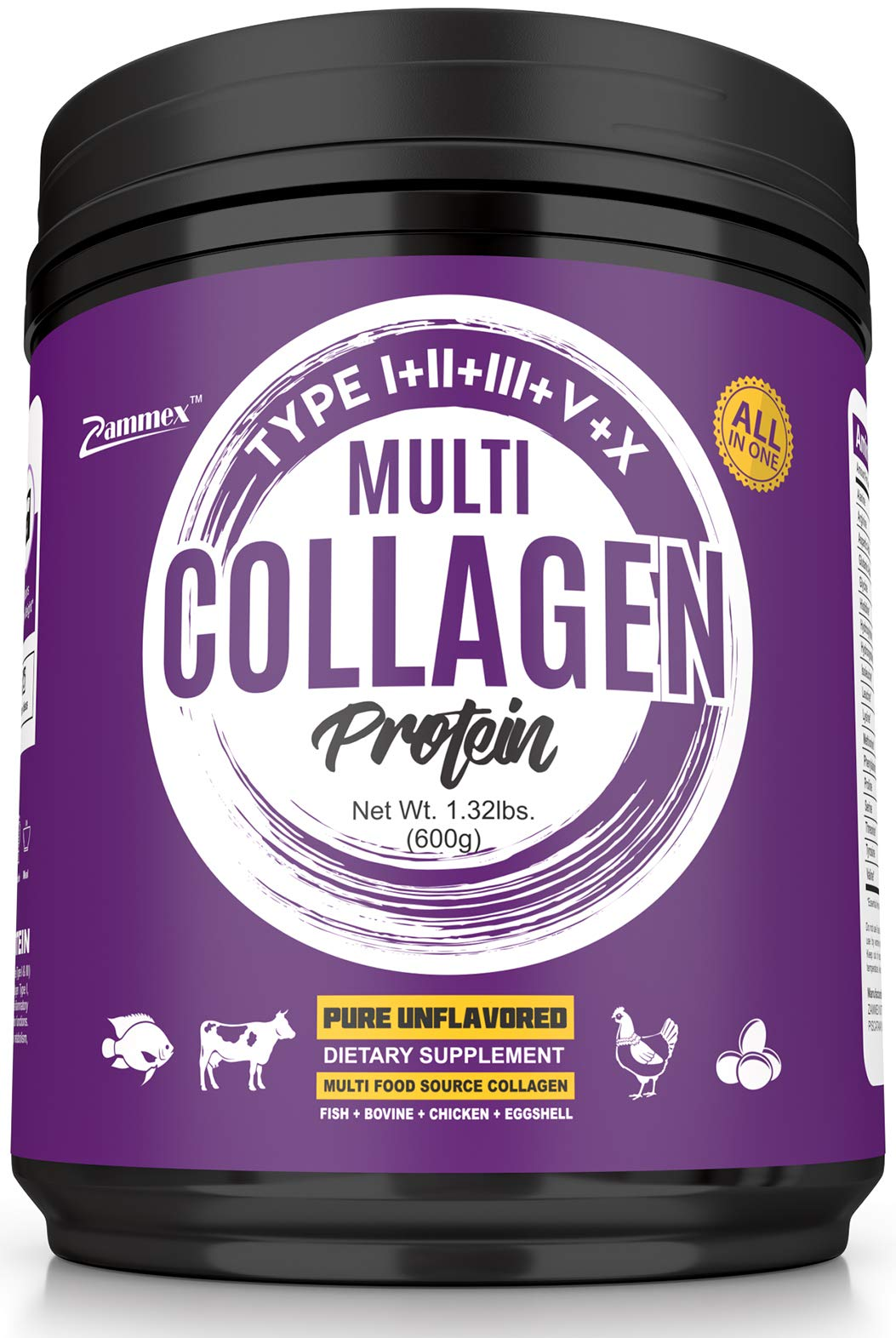 Multi-Collagen Protein Powder 21oz Best Value - High-Quality Blend of Grass-Fed Beef, Wild Fish, Patent Formula-TendoGuardTM-Chicken, Eggshell Collagen Peptides, All Natural Type I, II, III, V and X. by Zammex