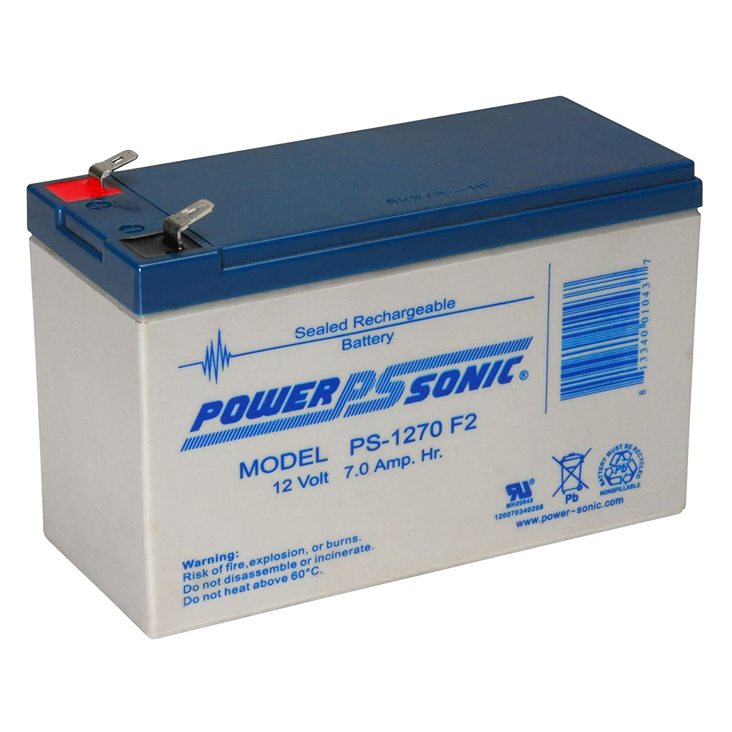 PS-1270 F2 - Power-Sonic 12V / 7Ah Sealed Lead Acid Battery with F2 Terminals (SHIPS FROM CANADA) PS-1270-F2