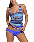 LaReine Bathing Suits Blue Tribal Printed Tankini Swimsuits for Women 3 Piece Swimsuit Set