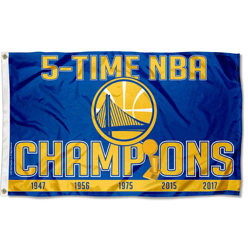 WinCraft Golden State Warriors 5 Time NBA Champions Flag and Banner by WinCraft