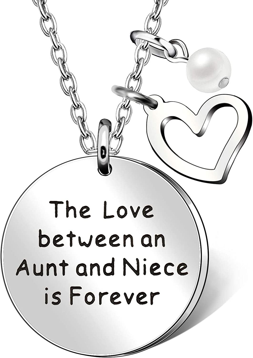Aunt Niece Pendant Necklace Love Heart Pearl - The Love Between an Aunt and Niece is Forever