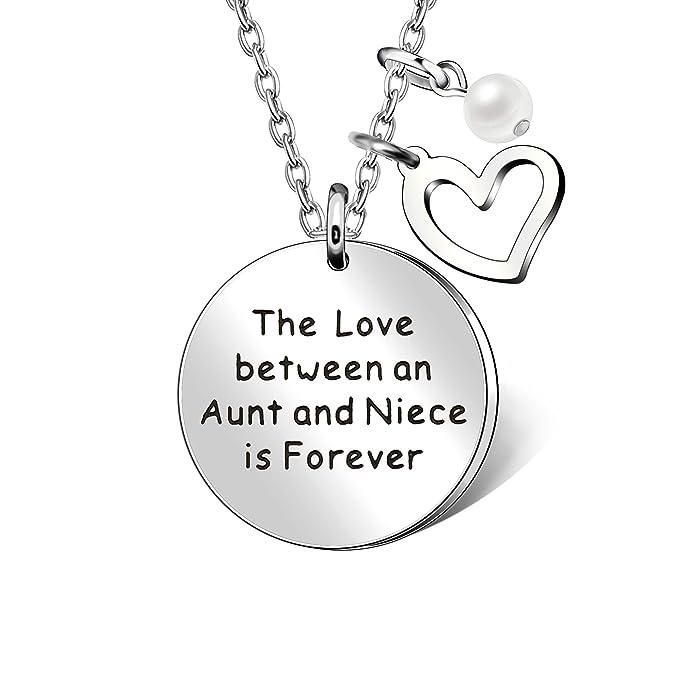 AGR8T - Collar con Colgante de Sobrina con Forma de corazón, Regalo para Familia – El Amor Entre una tía y Sobrina es Siempre