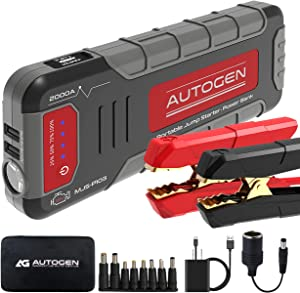 Car Jump Starter 2000 Amp AUTOGEN Portable Booster for Vehicles (up to 8.0L Gas or 7.0L Diesel) & USB Quick Charge 3.0, with Heavy Duty Error-Proof Intelligent Cables for Cars Boats RVs & Mowers
