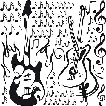 GRAZDesign 770068_57_070 Wandtattoo Musik   Set Mit Gitarren Musiknoten  Noten | Für Musikräume   Kinderzimmer