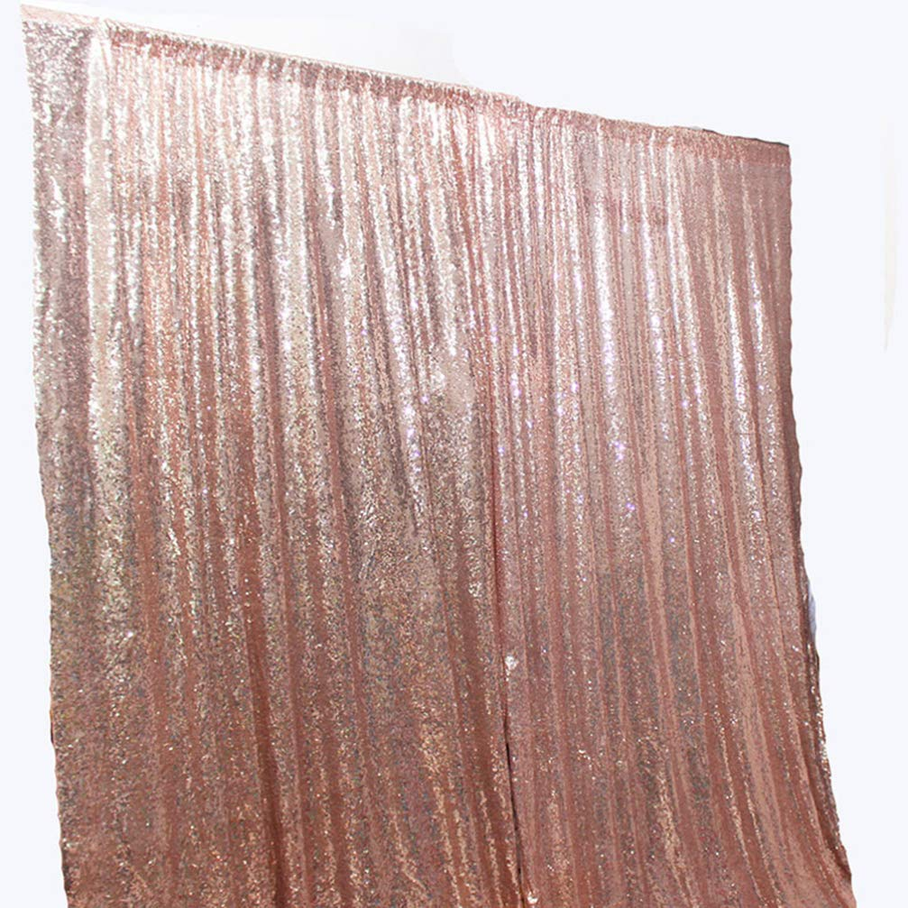 Uonlytech 125x180cm Sequins Backdrop Cloth Rose Gold Shimmer Sequin Glowing Party Decorative Curtain Wedding Birthday Photography Background