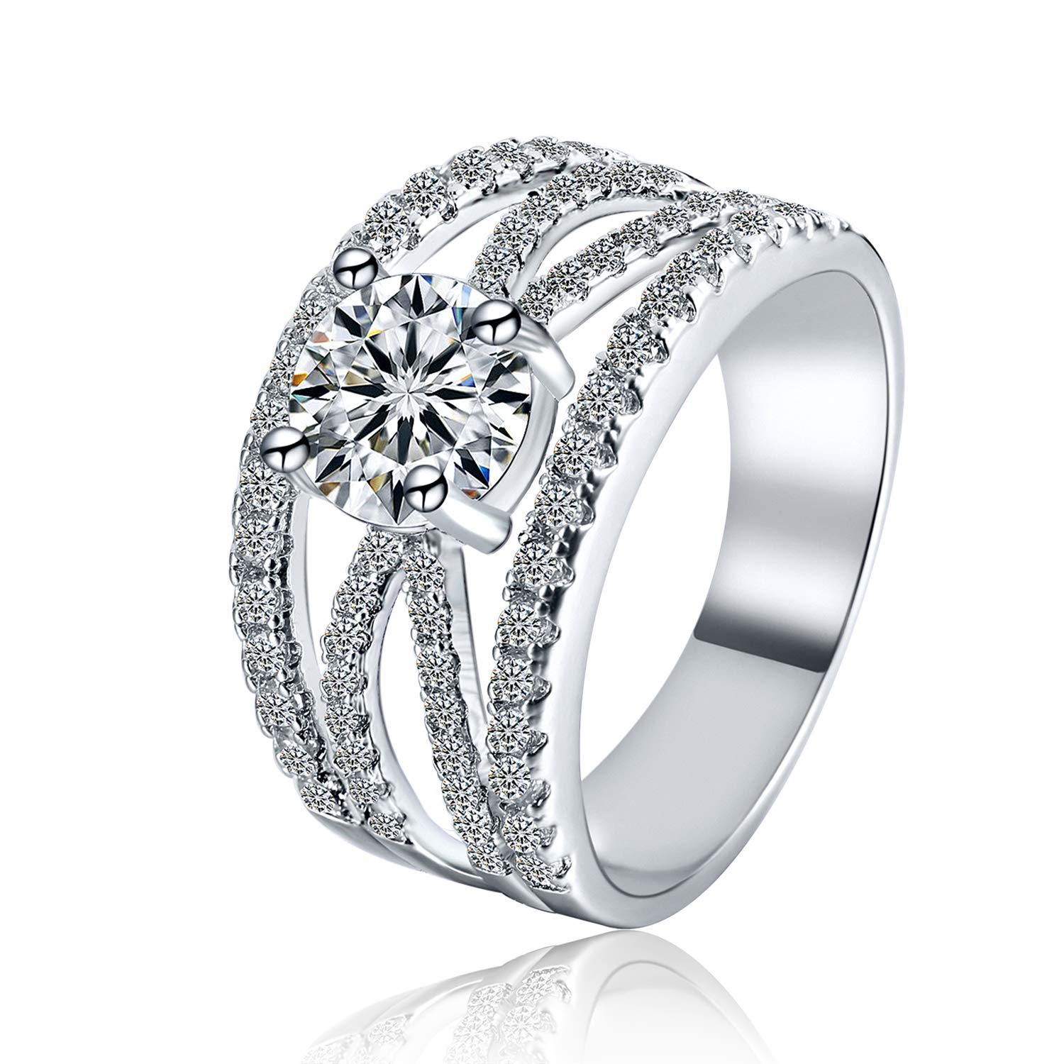 Women's Cubic Zirconia Rhodium Plated Criss Cross Statement Cocktail Ring Size 6-9 Shengtai ST587Z