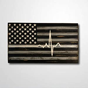 BYRON HOYLE Wooden Sign Paramedic Present Paramedic Flag Thin White Line EMS Present EMT Present EMS Flag Wood Plaque Wall Art Funny Wood Sign Wall Hanger Home Decor