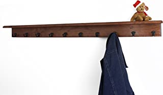 """product image for PegandRail Solid Cherry Shelf Coat Rack with Aged Bronze Single Style Hooks (Mahogany, 53"""" with 10 Hooks)"""