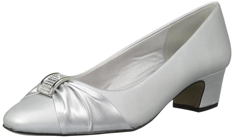 Easy Street Women's Eloise Dress Pump B072JH16XZ 9 2W US|Silver Satin/Silver With Easy Flex Dance Sole