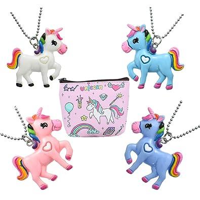 FSMILING 4 pcs Collar Unicornio con Monedero para Piñata ...