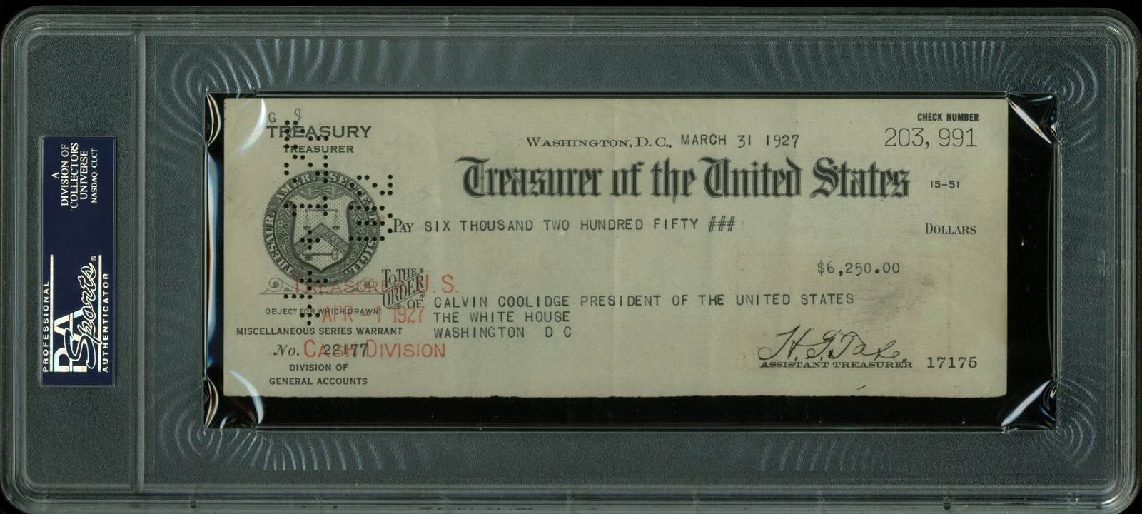 Autographed Calvin Coolidge Signed 1927 Payroll Check As President PSA/DNA Certified