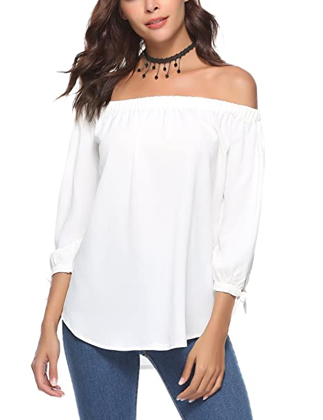2b729d1bd81 Abollria Women Blouse Off Shoulder Elegant Shirts 3/4 Sleeve Tie Cuff Sexy  Tee Tops: Amazon.ca: Clothing & Accessories