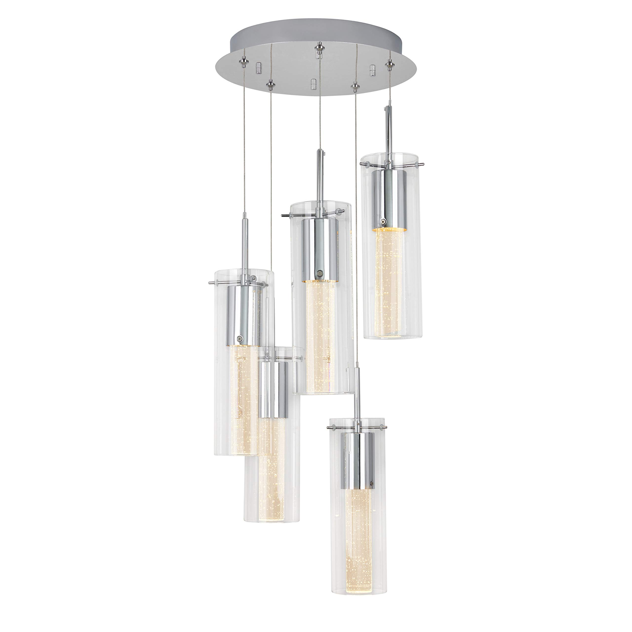 Artika OME64B-HD2 Essence Spiral 5-Pendants Indoor Light Fixture with Integrated Led with Premium Glass and Dimmable, Chrome Finish