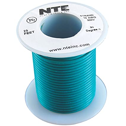 NTE Electronics WH18-05-100 Hook Up Wire Type 18 Gauge 100 Length Green Stranded