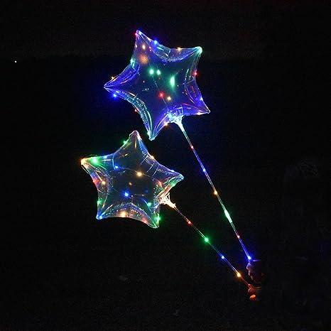 Bobo Balloon con batería LED iluminado luces parpadeantes intermitentes para cumpleaños Boda de Navidad propuesto partido decorativo (5PCS-Star)
