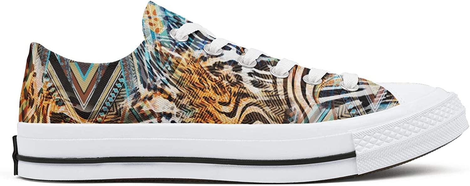 Hjdfene Womens Abstract Animal Leopard Texture Camouflage Canvas Shoes Low-Cut StrapsClassic Funky Sneakers Suitable for Walking