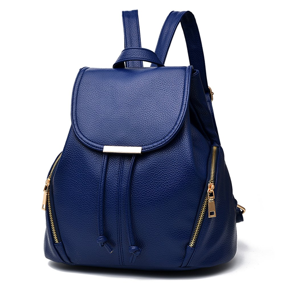 f2c319a3f4f weitine Backpacks for Girls/Women Brand Soft PU Leather Shoulder Bag Blue  with 2 Zipper Pockets Outside