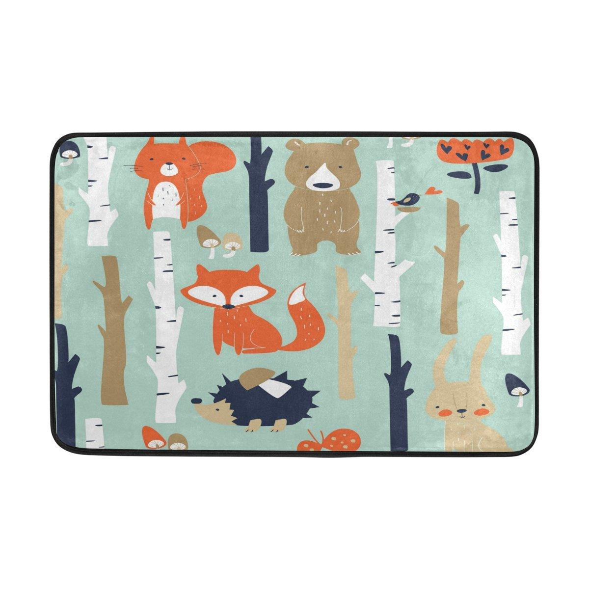 ツリーFox Bear Hedgehog屋内/屋外ドアマットスーパー吸収Mud床マット23.6 X 15.7インチ滑り止めゴムBackingデザインby Mock St   B07871P7VV
