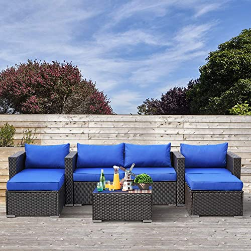 Outime Patio Rattan Furniture Outside Sofa Black Rattan Couch Set Garden Rattan Seating Couch Sectional Conversation Sofas Royal Blue Cushion