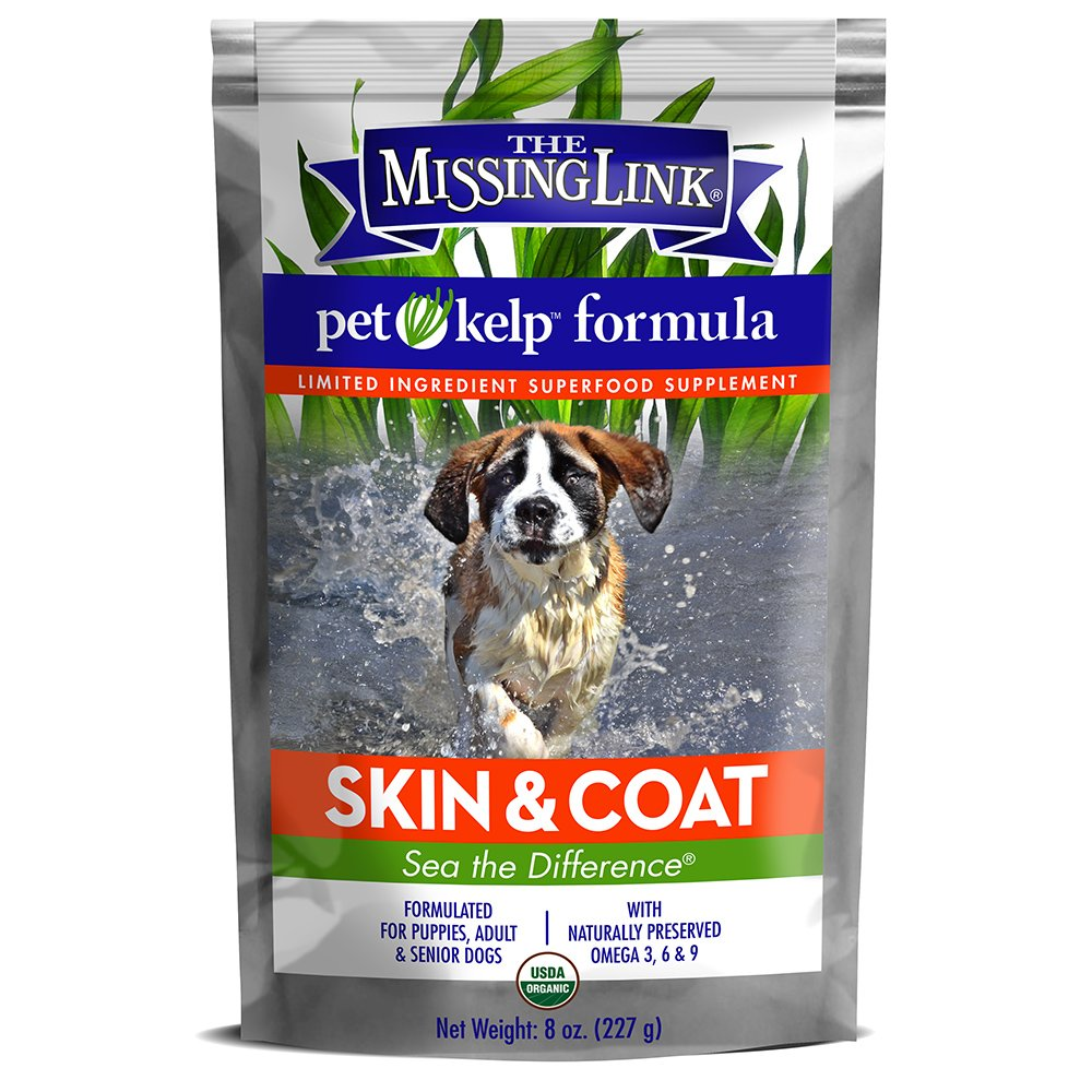 The Missing Link - Organic Pet Kelp, Skin & Coat Formula — Limited ingredient Superfood Supplement for Dogs rich in balanced Omegas 3, 6, and 9to support healthy nutrition and skin & coat health — 8 oz.