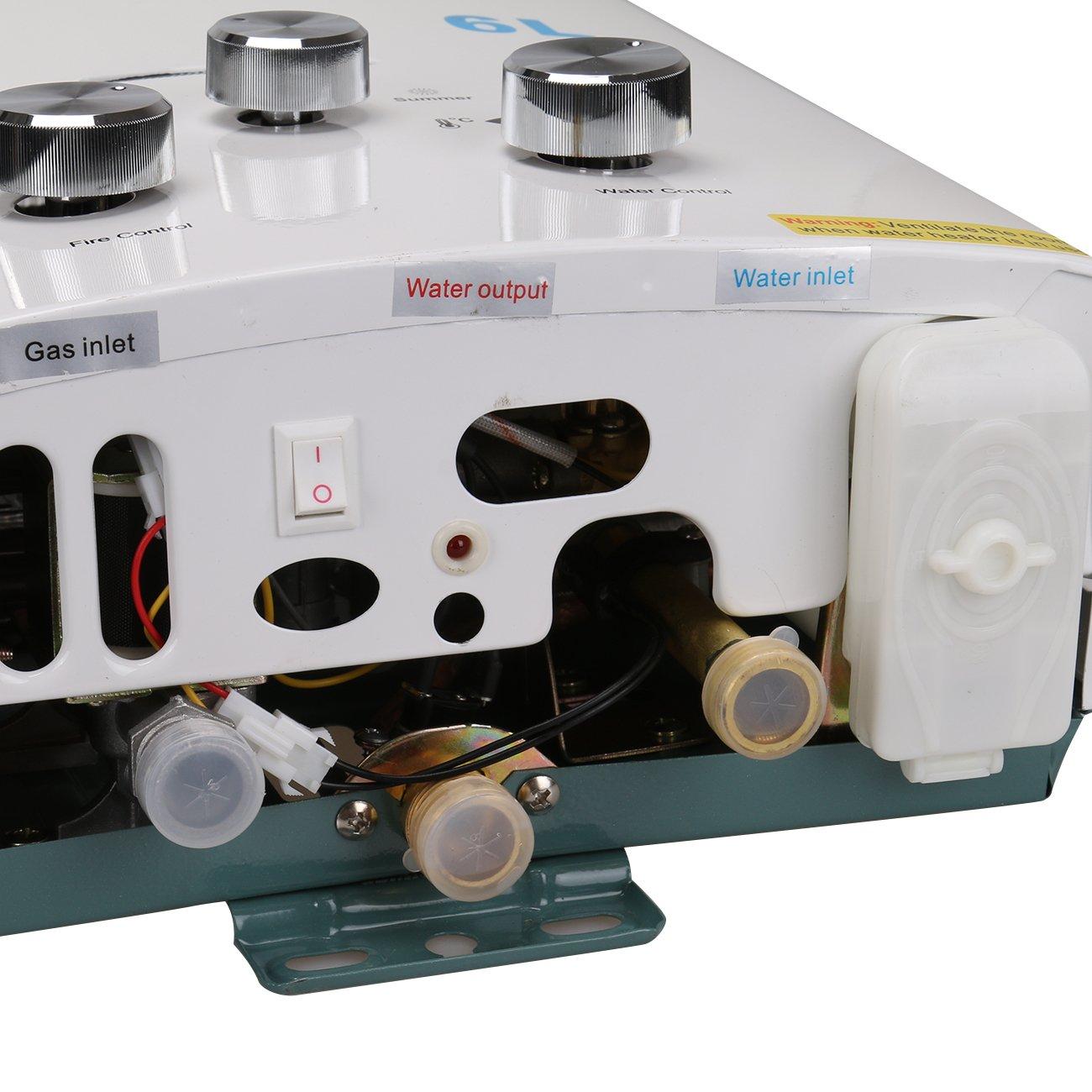 Calentador de gas propano instantáneo de Ridgeyard 6L LPG. Depósito de agua caliente: Amazon.es: Bricolaje y herramientas