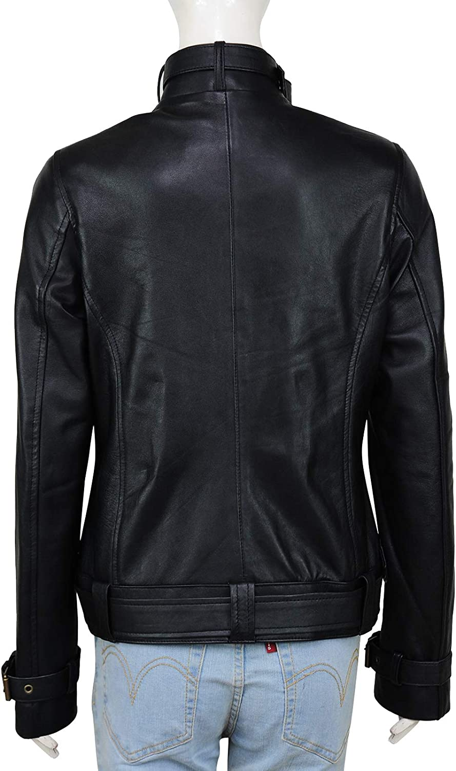 Womens Fashion Lambskin Leather Jacket Slim Fit Double Breasted Coat Top