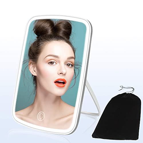 YCH Vanity Mirror, Makeup Mirror, 2400mAh Makeup Mirror with Lights, 3 Colors LED Mirror Touch Dimmable Lighted Makeup Mirror Memory Function Portable Mirror
