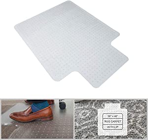 "FRUITEAM 36"" x 48"" Office Chair Mat for Carpeted Floors, Transparent Studded Desk Chair Mat with Lip for Low and Medium Pile Carpet, Shipped Flat"