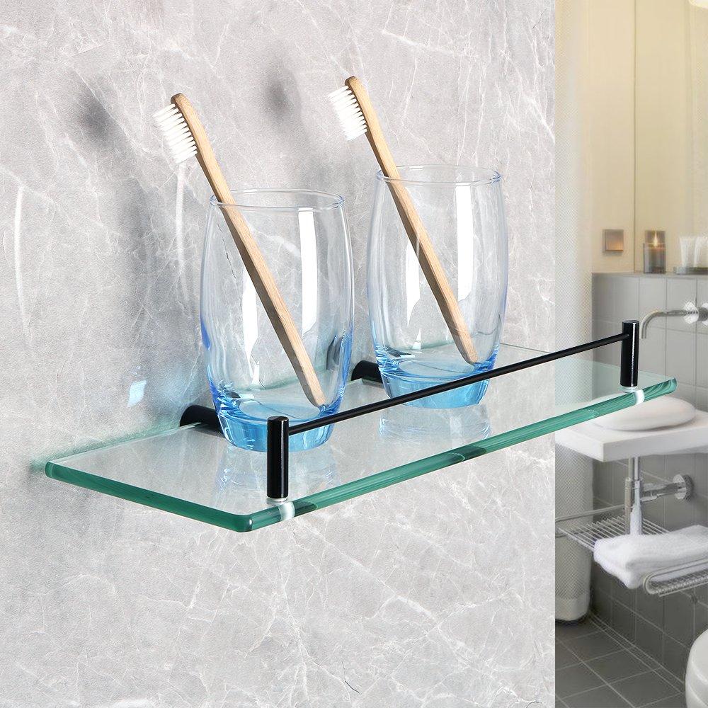 Alise GC4000-B Bathroom Shelf SUS 304 Stainless Steel Glass Shelf Wall Mount,Brilliant Black