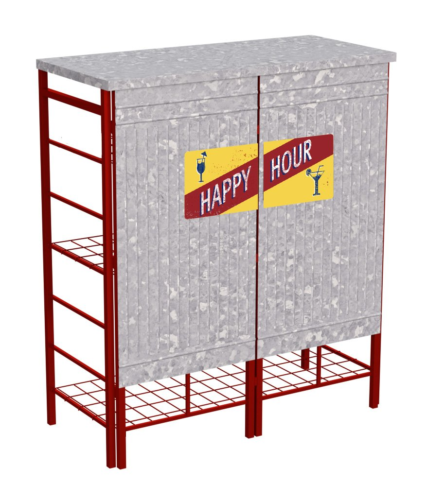 Panacea 86643 Vintage Happy Hour Folding Party Bar with Carrying Bag Trellises Garden Accessories, 38 in. W x 44 in. H x 16.75 in. D, Vintage Galvanized