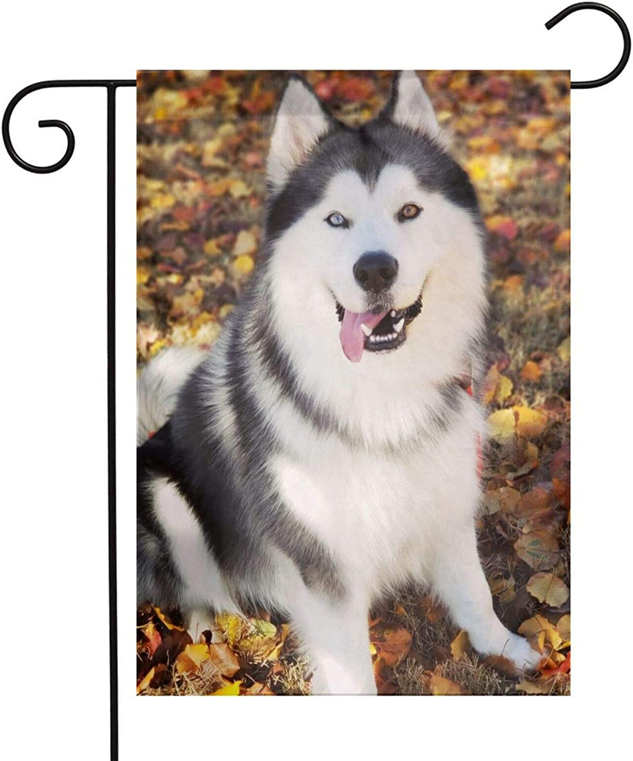 Autumn Husky Garden Flags House Indoor & Outdoor Holiday Decorations,Waterproof Polyester Yard Decorative for Game Family Party Banner