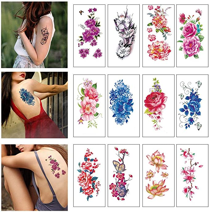12 Hojas De Flor Temporal Pegatinas Tatuajes Lotus Ciruela Rosa ...