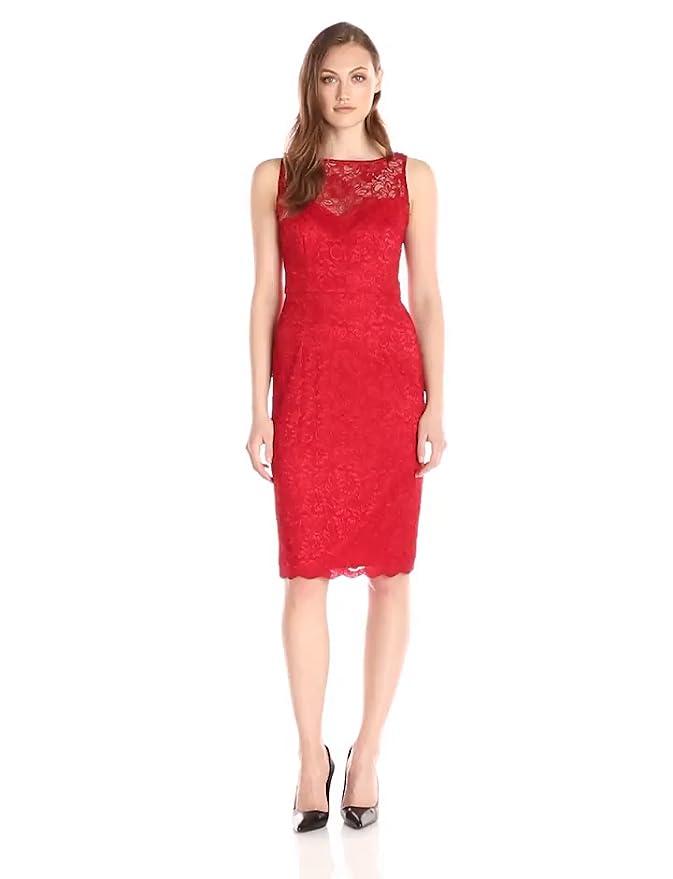d51df2c317 Betsey Johnson Women s Illusion Lace Sheath Dress at Amazon Women s  Clothing store