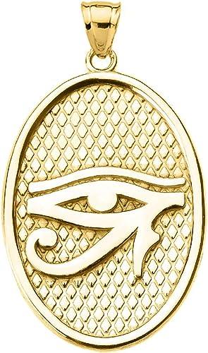 14k Yellow Gold Eye of Horus Oval Pendant Necklace