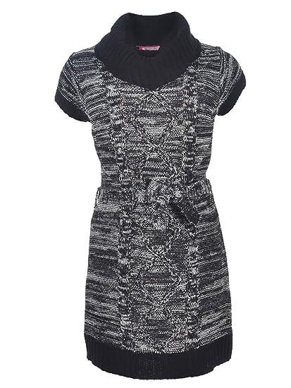 a6cc0055aac Amazon.com  Dream Star Little Girls  Belted Sweater Dress - Black ...