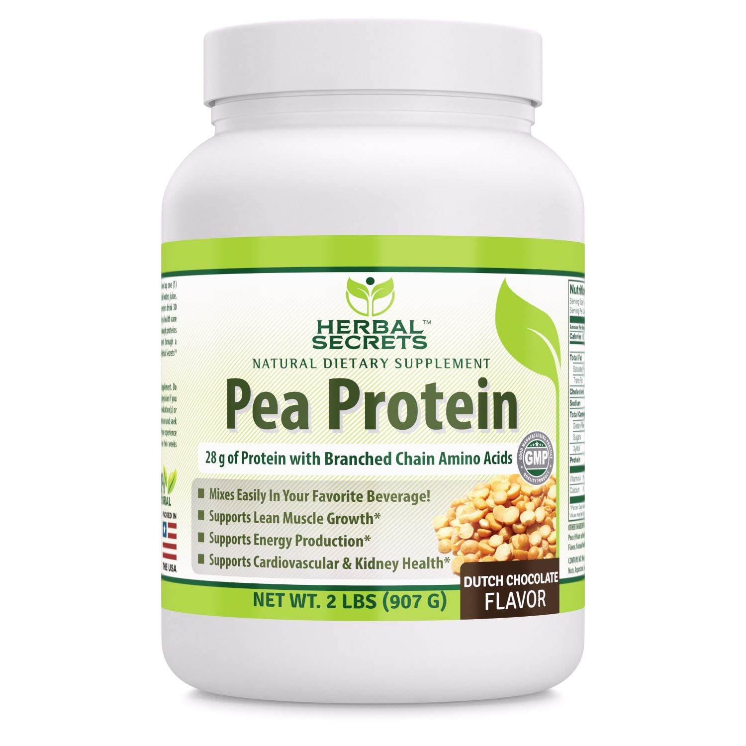 Herbal Secrets Pea Protein Powder Dutch Chocolate Flavor 2 Lbs - (Non-GMO) Vegetable Protein No Soy, No Dairy - Supports Lean Muscle Growth, Energy Production, Cardiovascular & Kidney Health*