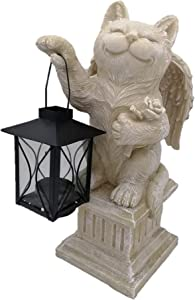 Comfy Hour Resin Memorial Cat Angel Taking A Lantern Pet Status Light Gray Perfect for Home Or Outdoor Garden