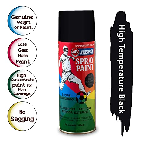 Paint For Cars >> Abro Sp 1200 Multipurpose Colour Spray Paint Can For Cars And Bikes High Heat Black 400ml
