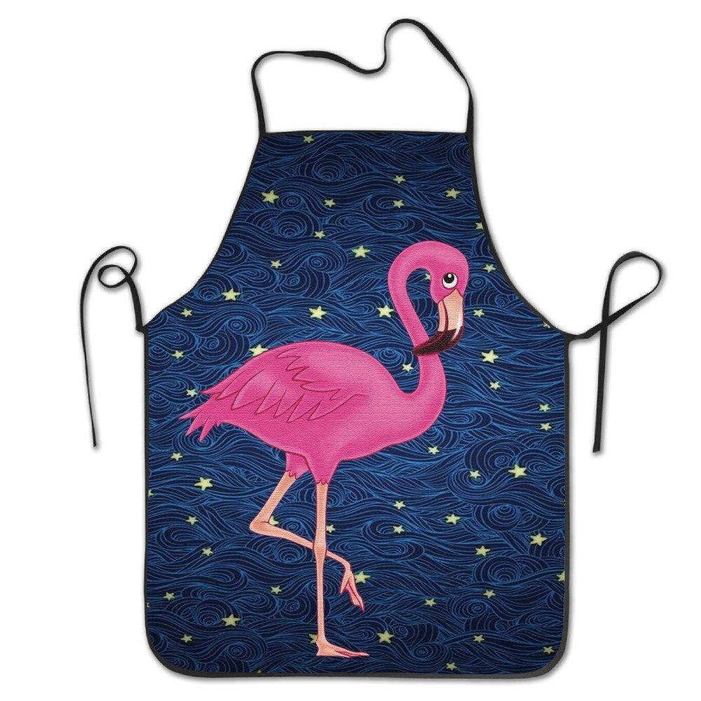 バッグShrotのかわいい美しいピンクフラミンゴBBQキッチン料理エプロン   B07D1M8XRV